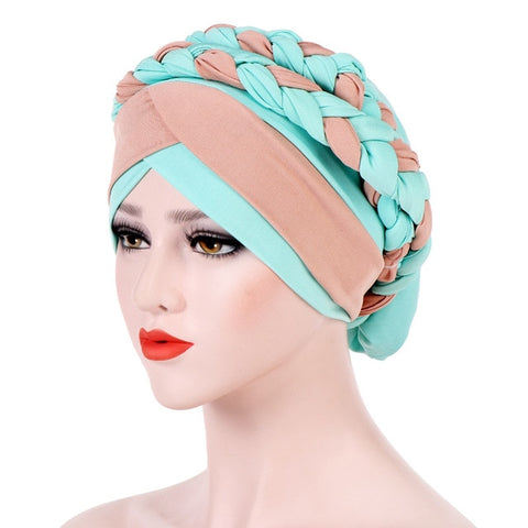 Headwear Cap African Style Muslim Turban Hair Accessories Fashion Women Patchwork Braided Bandanas Headwear Cap African Style