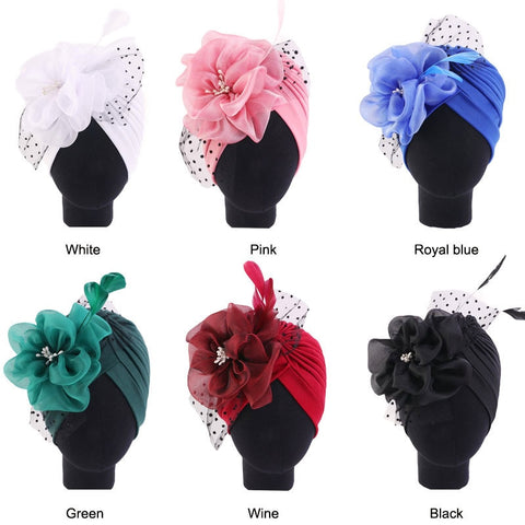 Turban Hats Women Floral Net Feather Ruffle Hat Skull Cancer Chemo Beanies Hijab Headwear Headwrap Hair Loss Cover Accessories