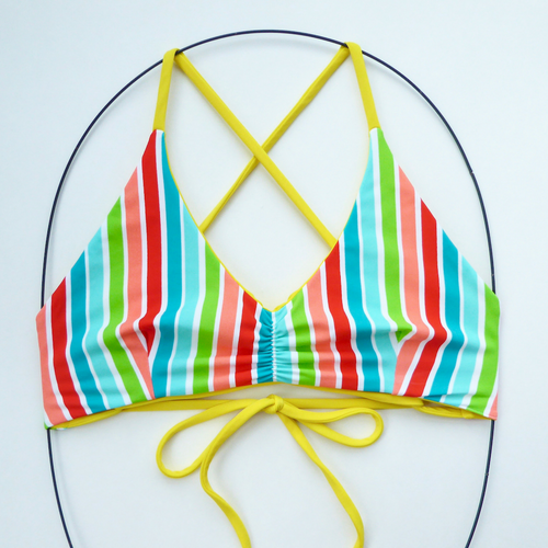 Retro Striped Reversible Bikini Top - Medium Bikini