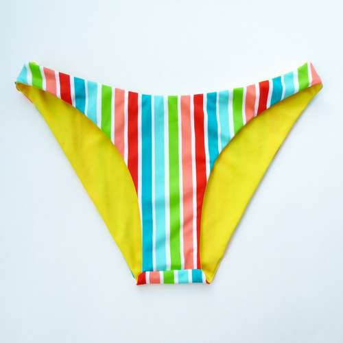 SMALL - Retro High Hip Brazilian Bikini Bottoms