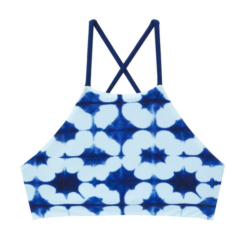 High Neck Reversible Shibori Bikini Top - One Size