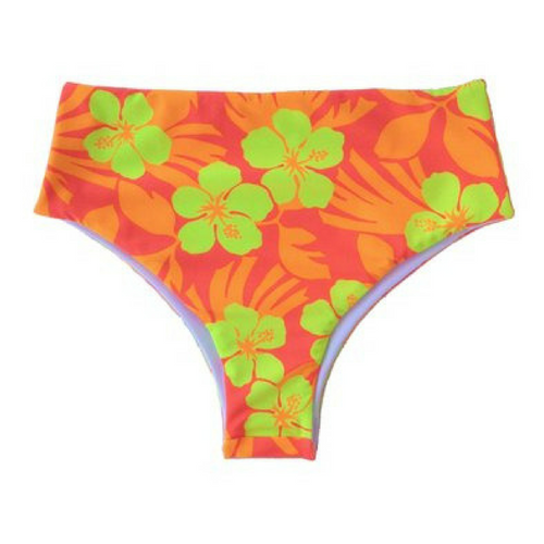 High Waisted Tropical Brazilian Bikini Bottoms - Small