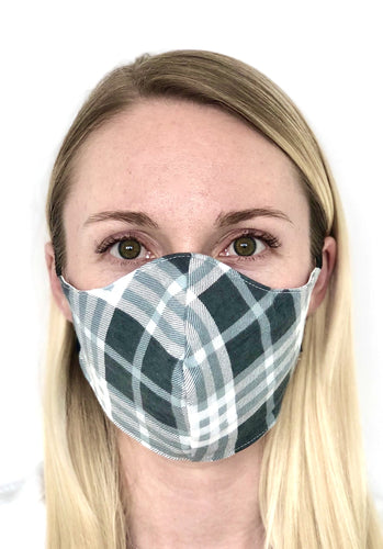 $5 Sale Mask! Gray Plaid Cotton Face Mask