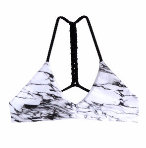 Marble print bikini-Black and White Jules Top