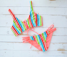 colorful striped bikini Top