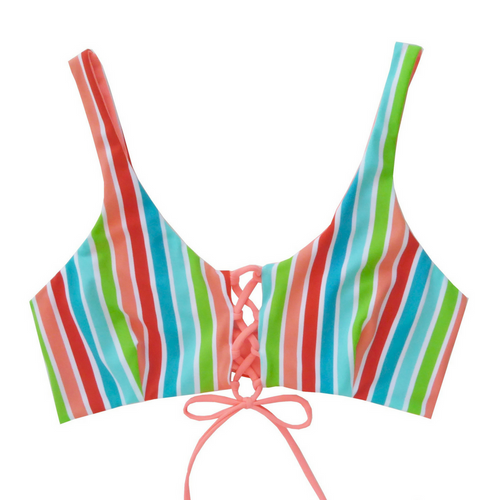 Striped bikini top- Retro Stripe Ashley Top