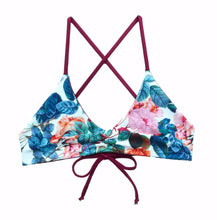 Blue and Wine Floral Reversible Bikini Top -  Extra Small