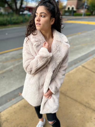 Haines Faux Fur Jacket - Cream Latte