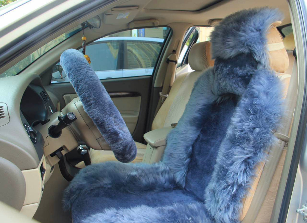 Long Wool Sheepskin Car Seat Cover X1