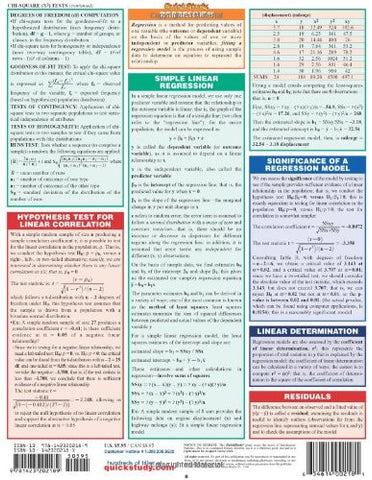 Statistics Laminate Reference Chart: Parameters, Variables, Intervals, Proportions (Quickstudy: Acad