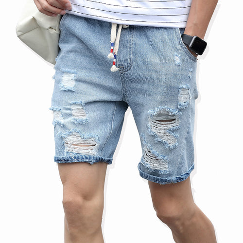 Mens Distressed Denim Drawstring Shorts