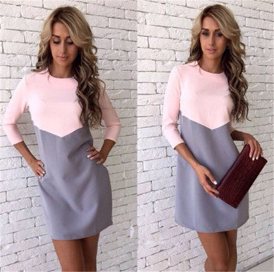 Womens Color Block 3/4 Sleeve Shift Dress