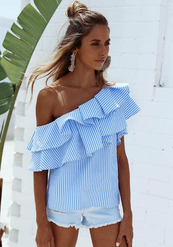 Womens Ruffle Striped Off Shoulder Top