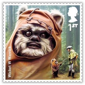 Royal Mail Wicket the Ewok Framed Stamp Artwork signed by Warwick Davis