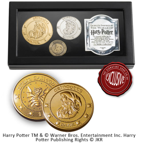 Gringotts Coin Set signed by Warwick Davis