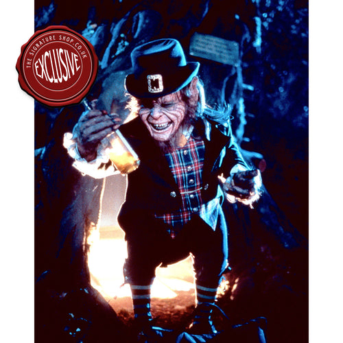 Leprechaun with Whisky 10x8 Photo signed by Warwick Davis
