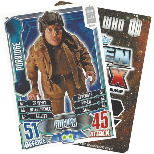 Dr Who Porridge 50th Anniversary Alien Attax Card signed by Warwick Davis