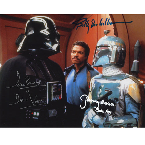 Vader, Fett & Calrissian 10x8 Photograph signed by Dave Prowse, Billy-Dee Williams & Jeremy Bulloch