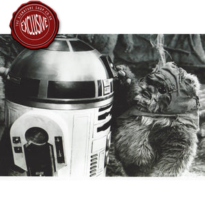 R2-D2 & Wicket  Black & White 8x10 Photo signed by Warwick Davis.