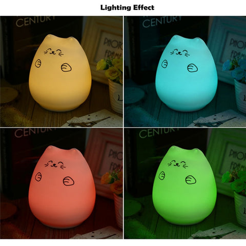 Popular LED USB Rechargeable Cute Cat Night Light Colorful Silicone Bedroom Hit Beat Lamp 12 hours in color changing mode - Daily Kreative - Kreative products for beauty and healthy living