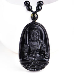 The Black Obsidian Lucky Buddha Amulet