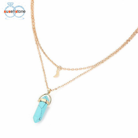 SUSENSTONE Women Multilayer Irregular Crystal Opals Pendant Necklace Choker Chain - Daily Kreative - Kreative products for beauty and healthy living