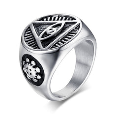 Antique Men Ring Triangle Eye