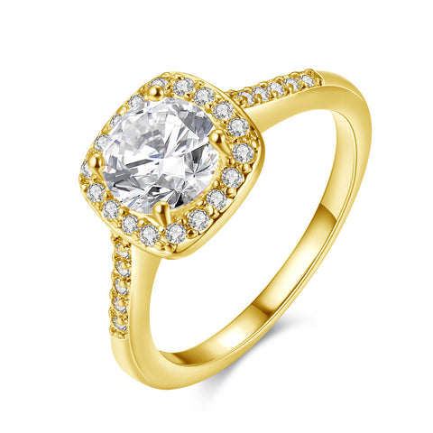 Swarovski Crystal Halo Ring in 18K Gold Plated - Daily Kreative - Kreative products for beauty and healthy living