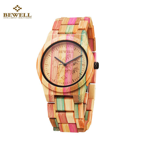 BEWELL Hypoallergenic Environmental Friendly Wooden Bamboo Watch Immaculate Classy Quartz Analog Unisex Wristwatch - Daily Kreative - Kreative products for beauty and healthy living