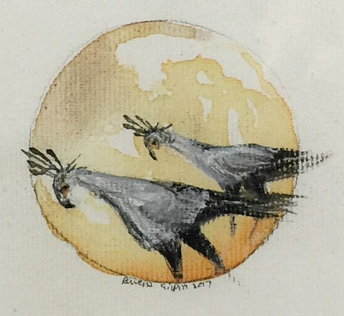 Secretaries | Secretary Birds | Original Watercolour on canvas 6 x 6 cm