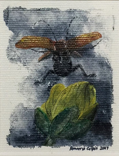 Jumping Beetle | Original Acrylic on Canvas 6 x 8 cm