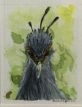 Looking Down | Secretary Bird | Original Watercolour on Canvas 6 x 8 cm