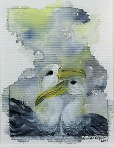 New Parents | Albatross | Original Watercolour on Canvas 6 x 8 cm