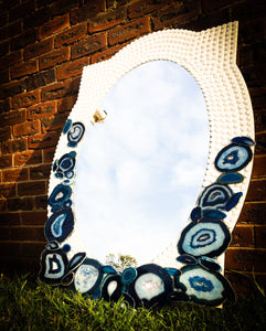Blue Agate & Ceramic Tile Mosaic Mirror