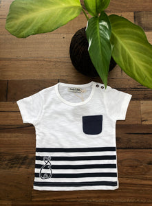 White and Blue Stripey Tee