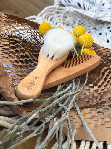 Wooden comb and brush set