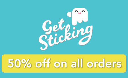 Get sticking wall stickers white logo. Displays discount under logo.