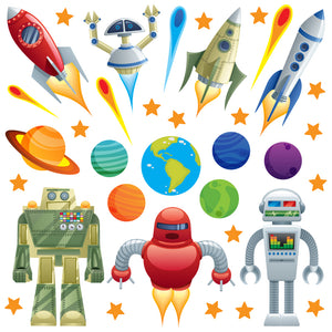 Space wall sticker set depicts colourful robots coming to earth. Robots, stars an planets displayed orbiting earth on white background.