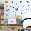 Space set depicts realistic wall stickers of astronaut, space shuttles, solar system planets stuck on boys bedroom wall.