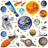 Space set depicts realistic wall stickers of astronaut, space shuttles, solar system planets shown on white background.