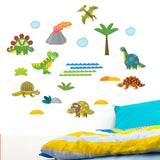 Baby dinosaur wall sticker set stuck on bedroom wall. Boys bed is yellow an blue in colour.