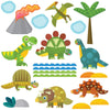 Baby dinosaur wall sticker set depicts 7 dinosaurs around water hole, palm tree, clouds an volcano on white background.
