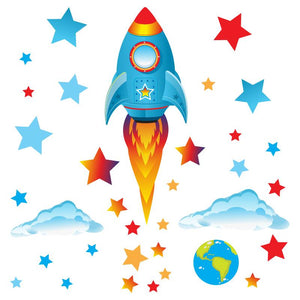 34 wall stickers. A big blue rocket blasting away from earth, rocketing through clouds, red, blue stars on white background.