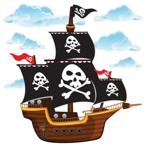 Pirate wall stickers set depicts large cartoon pirate ship with skulls on sails sailing among blue clouds on white background.