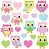 This pink, blue, purple owls wall sticker set depicts 9 cheeky baby owls among polka dot pink hearts on white background.