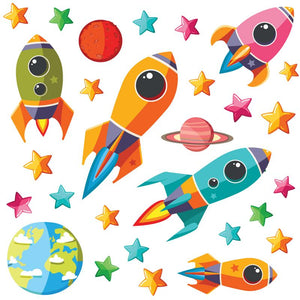 Colouful children themed space rocket wall stickers blasting away from earth into bright coloured stars on white background.