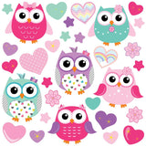 Animal wall sticker set depicts group of colorful starry eyed owls among multi coloured hearts, flowers on white background.