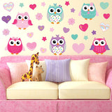 Woodland colorful owls stuck on wall, wall decorations for living room.