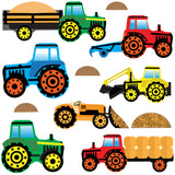 Wall sticker set depicts red, green, blue, orange, yellow farm tractors going both directions, collecting mud an hay on white background.