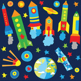 Space wall sticker set depicts multi colourful rocket, satellite, star an planets orbiting earth in space on blue background.